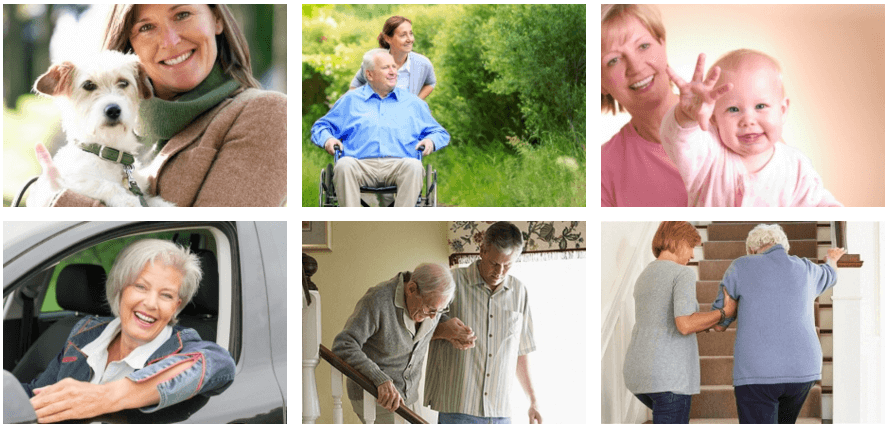 Photo grid of specialized services at Seniors on Site