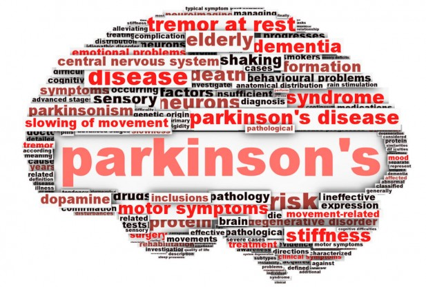 Collage of terms related to Parkinson's Disease