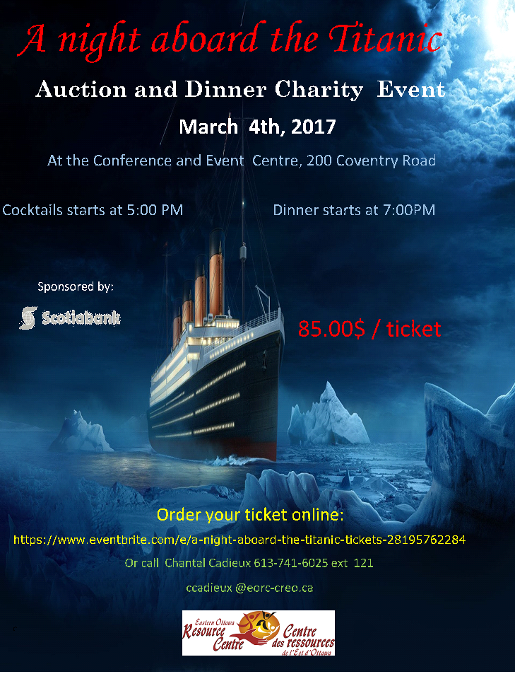 A Night Aboard the Titanic - Annual fundraising event in support of the Eastern Ottawa Resource Centre